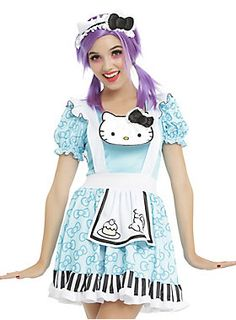 """Hello Kitty fell down the rabbit hole and got a Wonderland makeover! This blue dress features a bow printed skirt and sleeves, teapot printed apron, Hello Kitty applique, striped trim and white ruffles. Also features a pin-on bow on the back. Includes a matching headband. <br><ul><li style=""""LIST-STYLE-POSITION: outside !important; LIST-STYLE-TYPE: disc !important"""">100% polyester</li><li style=""""LIST-STYLE-POSITION: outside !important; LIST-STYLE-TYPE: disc !important"""">Hand wash cold; line…"""