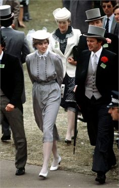 June 19, 1981:  Prince Charles (out of frame) with his fiance, Lady Diana Spencer at Royal Ascot.