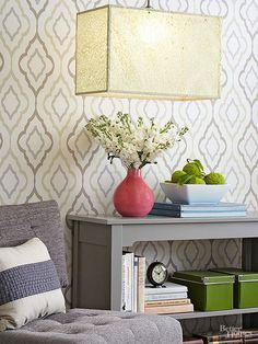 Use lacelike decorative paper to allow light to gently filter through the shade.