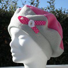 Bonnet chapeau béret lin'eva créateur polaire rose et gris enfant confortable unique hiver