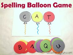 A leave at home game for my emergent readers. Little Family Fun: Spelling Balloon Game Kindergarten Literacy, Preschool Learning, Fun Learning, Preschool Activities, Time Activities, Listening Activities, Learning Spaces, Spelling Games, Spelling Activities