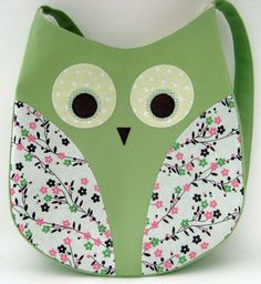 Owl Tote Bag Handmade Girl's Green Owl Bag by freakadoodles. $32.00, via Etsy.