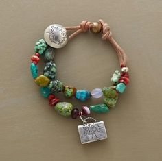 Sundance bracelet.  Love the stones with the metal charm and leather. Fun beading idea