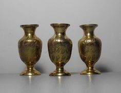 Small Trio of Indian Vases/Indian Brass by SukiandPolly on Etsy