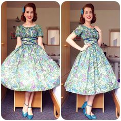 """""""Today's outfit: Hair bow - cutebows4girls on etsy Dress - @veramodevintage  Brooch - #vintage  Heels - Chelsea Crew (via @modcloth) #pinup #pinupgirl…"""""""