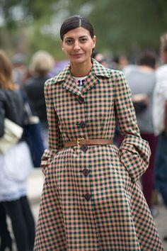 Giovanna Battaglia in Prada coat at Paris Fashion Week Spring 2014