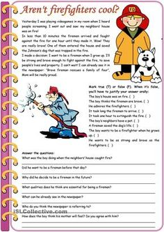 Aren't firefighters cool? – reading comprehension + grammar (comparative of equality, past simple vs. past continuous) [6 tasks] KEYS INCLUDED ((3 pages)) ***editable