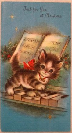 #1177 50s Unused Rust Craft Kitty Cat Plays Piano-Vtg Christmas Greeting Card