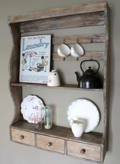 A vintage kitchen re-purposing a wood palette for storage and display. | Vintage Love | Pinterest | Kitchen dresser Pallets and Dresser & A vintage kitchen re-purposing a wood palette for storage and ...