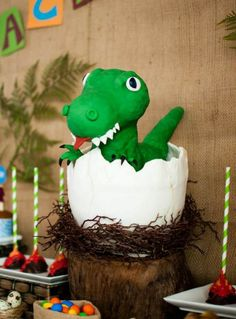 This was the cake I did for my son who recently turned He loves dinosaur and requested to have a dino party. Of course, what's a dino party without a dino cake. Dinosaur Birthday Cakes, Dinosaur Cake, The Good Dinosaur, Cute Dinosaur, Birthday Party Desserts, Birthday Parties, Dino Cake, Egg Cake, First Birthdays