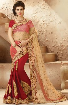 Indian Saree Designs - Beige with Pink Color Indian Party Wear Sarees Online Satin Saree, Chiffon Saree, Georgette Sarees, Silk Sarees, Indian Party Wear, Indian Bridal Wear, Indian Wear, Pakistani Bridal, Lehenga Style Saree