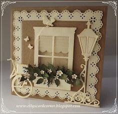 I want that Madison Window die from Memory Box - love how she made a window shade. Elly's Card- Corner: Home sweet home.