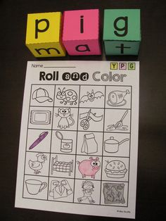CVC Words center!! Students roll the dice to build CVC words and color them in on their sheet (multiple sheets included) - first to make a line wins! Or they can color on the same sheet in their own color and once it is filled up, the person with the most words wins!