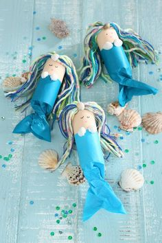 We are celebrating a mermaid birthday - Kids Birthday mermaid, sea mermaid party, mermaid crafts, mermaid crafting idea, mermaid invitation - Kids Crafts, Summer Crafts, Toddler Crafts, Craft Projects, Summer Art, Toilet Roll Craft, Toilet Paper Roll Crafts, Craft Activities, Toddler Activities