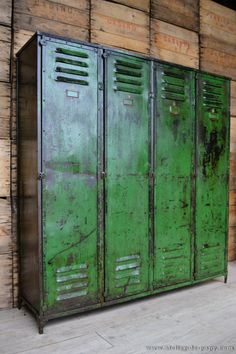 Patinated, vintage metal locker, great for Vintage Industrial, Industrial Design Decorating Styles. Set against a wall made of salvaged planks- also an element of the styles. Industrial Chic, Vintage Industrial Furniture, Industrial House, Rustic Furniture, Home Furniture, Industrial Lockers, Vintage Lockers, Metal Lockers, Gym Lockers
