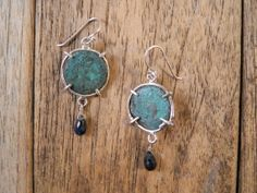 Ancient Coin Earrings sterling silver roman bronze coins handmade art jewelry dangle simple verdigris patina antique old blue sapphire