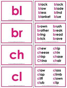 Beginning Consonant Blends Flash Cards with a special bonus! These flash cards have up to 8 words that start with each blend for extra practice. Use as flash cards or a memory game. Phonics Chart, Phonics Flashcards, Phonics Blends, Phonics Rules, Blends And Digraphs, Sight Word Flashcards, Phonics Lessons, Phonics Words, Teaching Phonics