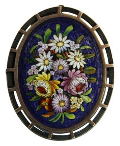 Brooch - Silver and Hard stones - MicroMosaic - 19th century