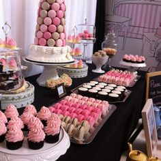 High Tea in Paris - awesome looking dessert bar. Great idea! Love the pink colours.