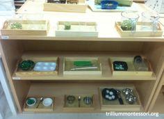 A Year of Montessori Fine Motor Shelves - Trillium Montessori Montessori Trays, Montessori Preschool, Montessori Materials, Montessori Practical Life, Beginning Of School, Fine Motor, Shelves, Primary Classroom, Preschool Classroom