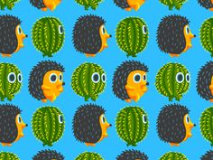 Hedgehog vs Cactus. Animation pattern for Yota