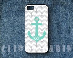 Handmade Custom Monogram iPhone Case: Chevron and Blue Boat Anchor (For iPhone 4, 4s, 5, 5s, 5c, and iPod Touch 4G, 5G)