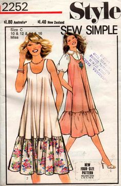 Style 2252 Womens Summer Tent Dress Pinafore with Contrast Flounced Hem 70s Vintage Sewing Pattern Size 10 12 14