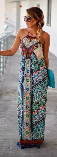 Great styling with this colorful halter maxi.