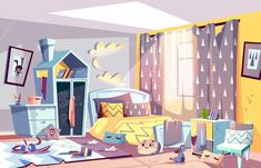 Messy bedroom of lazy child with scattered toys Free Vector Episode Interactive Backgrounds, Episode Backgrounds, Anime Backgrounds Wallpapers, Anime Scenery Wallpaper, City Background, Cartoon Background, Animation Background, Vector Background, Bedroom For Girls Kids