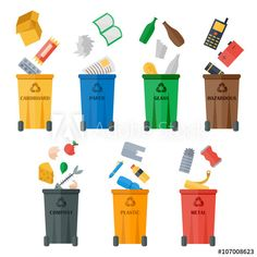 Waste sorting of garbage types set vector. Waste management and recycle concept. Separation of waste on trash metal garbage bins. Colored garbage cans with waste types vector. Garbage Waste, Garbage Can, Waste Segregation, Metal Bins, Management Books, Nature Posters, Cardboard Paper, Trash Bins, Recycling Bins