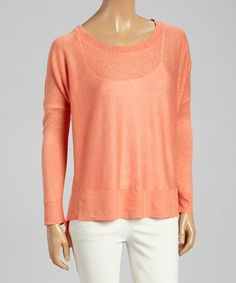 Another great find on #zulily! Mandarin Oversize Linen Crewneck Sweater #zulilyfinds