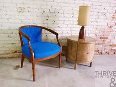 Just-In 2-19-14 |  Modern United Furniture Diamond Dressers, Vintage Blue Barrel Back Bamboo Chair, Barrel Side Table, Mid-Century Teak Table Lamp