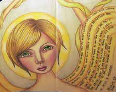 "Girl with ""Wings"" Journaled by Zinnia Galliher Doodle Art Journals, Angels Among Us, Blue Angels, Guardian Angels, Mixed Media Painting, Doodle Drawings, Cool Art, Awesome Art, Zinnias"