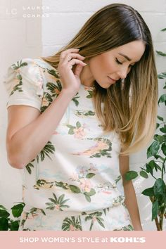 Say hi to cute spring styles from LC Lauren Conrad. This comfy matching set is easy to wear and easy to love. Cue the totally tropical vibes for your next vacation or staycation! Find new spring outfits even sooner with free store pickup in 1 hour or less. Shop skirts, tees, accessories and more from LC Lauren Conrad at Kohl's and Kohls.com. #springstyle #lclaurenconrad Trendy Fashion, Spring Fashion, Lauren Conrad Collection, Easy To Love, Tropical Vibes, California Style, Matching Set, Spring Looks, Lc Lauren Conrad