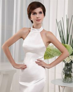 osell wholesale dropship Halter Sleeveless Zipper Floor Length Charmeuse Woman Evening Prom Dress $68.87
