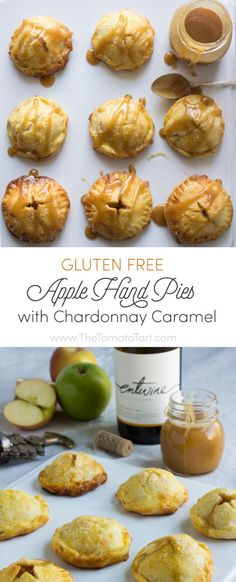 These gluten free apple hand pies are not the deep fried, sickly sweet, frosted things you grew up with. These hand pies have a sophisticated tang and warm oak flavor from the chardonnay spiked apples and caramel. Just sweet enough, these hand pies are fantastic on a dessert table or just enjoyed with a glass of wine
