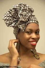 Brown African Print Cotton head wrap-DPH543