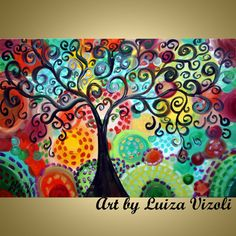 Original Whimsical Painting TREE of JOY Boho Style by LUIZAVIZOLI, $345.00