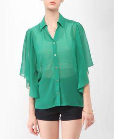Sheer Flutter Sleeve Shirt   FOREVER21 - 2000042620