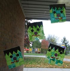 Easy Frankstein Craft for your Class, can hang up on windows!