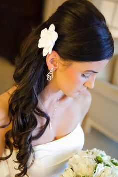 Ready to Ship - The Original Gardenia Hair Flower for Weddings as seen in Southern Weddings  Magazine in Antique White with Alligator Clip. $25.00, via Etsy.