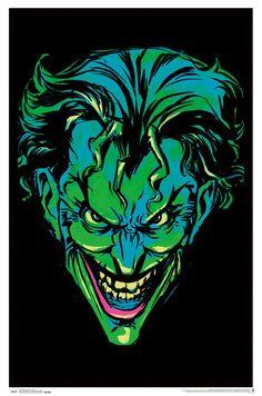 Joker Neon Retro Comic Book Art Blacklight Poster 24x36 - Poster Foundry