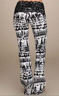 New Lace Waist Stretch Black & White Tie Dyed