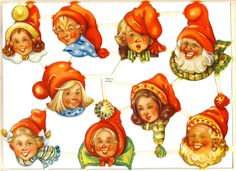 Die-cut Scrap by Wallen Adorable Gnomes 1940s Sweden (Image1)