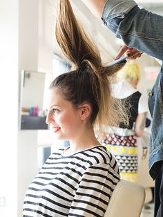Messy High Ponytail 3 To create a messier look, backcomb the hair in medium-sized sections for more volume