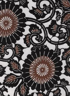 Katazome-Shi Paper from Japan-Black & Brown Flowers and Vines