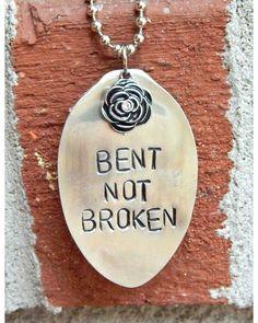 BENT NOT BROKEN Stamped Spoon Necklace,