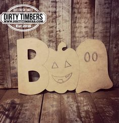 Unfinished Boo Ghost Door Hanger Pumpkin Fall Halloween DIY Blank Wood Cut Out Ready To Paint Custom Wholesale by DirtyTimbers on Etsy Fall Halloween, Halloween Crafts, Halloween Decorations, Halloween Cut Outs, Fall Decorations, Halloween Stuff, Halloween Party, Halloween Costumes, Wood Crafts