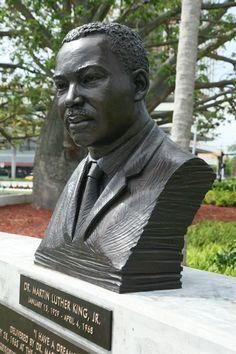 Martin Luther King, Hollywood, Florida. 1.5 times life size bust of MLK. Bronze Figurative sculpture by sculptor Steven Whyte, Carmel, California. Www.facebook.com/stevenwhytecarmel