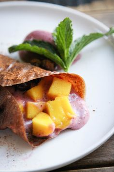 This Rawsome Vegan Life: BANANA CINNAMON CREPES with BERRY ICE CREAM + MANGO
